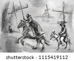 don quixote and sancho panza  ... | Shutterstock . vector #1115419112