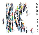 crowded isometric people vector ... | Shutterstock .eps vector #1115425838