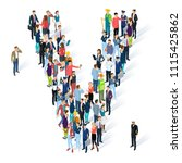 crowded isometric people vector ... | Shutterstock .eps vector #1115425862