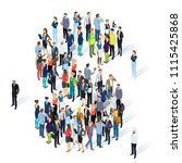 crowded isometric people vector ... | Shutterstock .eps vector #1115425868
