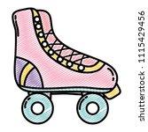 doodle fun roller skate shoes... | Shutterstock .eps vector #1115429456