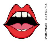 open mouth with teeth and... | Shutterstock .eps vector #1115430716