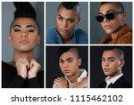 people collage portrait single | Shutterstock . vector #1115462102