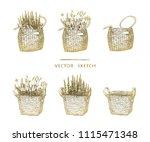 vector illustration. wicker... | Shutterstock .eps vector #1115471348
