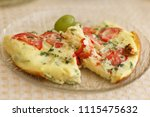 tasty magnificent omelet with... | Shutterstock . vector #1115475632