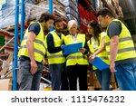 meeting at warehouse | Shutterstock . vector #1115476232