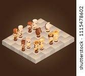 isometric cartoon chess pieces...   Shutterstock .eps vector #1115478602