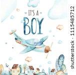 baby boys world. cartoon... | Shutterstock . vector #1115485712