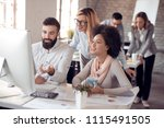 business partners working on... | Shutterstock . vector #1115491505