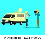 journalist conducts a report... | Shutterstock .eps vector #1115493908