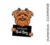yorkshire terrier bad boy. dog... | Shutterstock .eps vector #1115496938