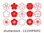 cherry blossom. set of flowers. ... | Shutterstock .eps vector #1115499692