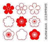 cherry blossom. set of flowers. ... | Shutterstock .eps vector #1115499695