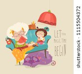 grandmother reading fairytales... | Shutterstock .eps vector #1115504372