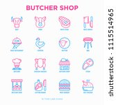 butcher shop thin line icons... | Shutterstock .eps vector #1115514965