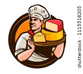 chef holding a tray of cheese.... | Shutterstock .eps vector #1115518205