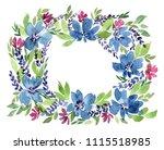 flowers watercolor wreath ...   Shutterstock . vector #1115518985