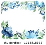 flowers watercolor frame ...   Shutterstock . vector #1115518988