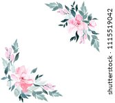 flowers watercolor frame ...   Shutterstock . vector #1115519042