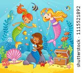 mermaids play under the water.... | Shutterstock .eps vector #1115521892