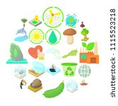 pure nature icons set. cartoon... | Shutterstock .eps vector #1115523218