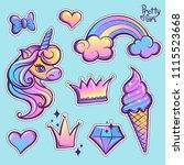 girlish patch badges unicorn... | Shutterstock .eps vector #1115523668