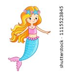 mermaid on a white background.... | Shutterstock .eps vector #1115523845