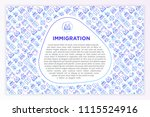 immigration concept with thin... | Shutterstock .eps vector #1115524916
