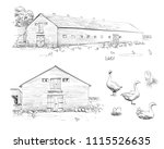 goose farm rural landscape.... | Shutterstock .eps vector #1115526635