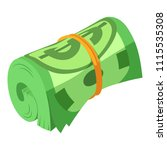 rolled dollars icon. isometric...   Shutterstock .eps vector #1115535308