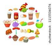 fried food icons set. cartoon...   Shutterstock .eps vector #1115536076