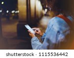 blogger hipster using in hands... | Shutterstock . vector #1115536442