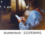 blogger hipster using in hands... | Shutterstock . vector #1115536442