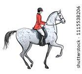 rider man and dapple grey horse ...   Shutterstock .eps vector #1115538206