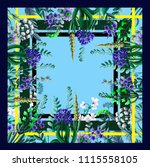 design of scarf with wild... | Shutterstock .eps vector #1115558105