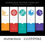 5 vector icons such as bar...