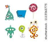 strange color monsters | Shutterstock .eps vector #1115563775