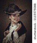 retro styled female portrait... | Shutterstock . vector #1115575088