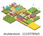 vector 3d isometric rural farm... | Shutterstock .eps vector #1115578565