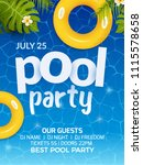 pool summer party invitation... | Shutterstock .eps vector #1115578658