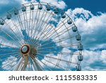 Ferris Wheel Daytime on Ocean City New Jersey Boardwalk Pier Beautiful Blue Sky with Clouds