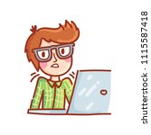 cartoon drawn man with glasses... | Shutterstock .eps vector #1115587418