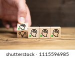 cubes with head symbols and... | Shutterstock . vector #1115596985
