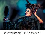 scary witch with mirror | Shutterstock . vector #1115597252