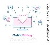 online dating concept banner...   Shutterstock .eps vector #1115597456