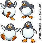 Cartoon Penguin With Different...
