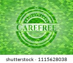 carefree realistic green emblem.... | Shutterstock .eps vector #1115628038