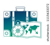 suitcase travel with compass... | Shutterstock .eps vector #1115633372