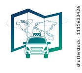world paper map with taxi | Shutterstock .eps vector #1115633426