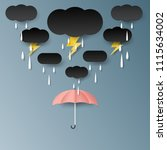 umbrella rain cloud and... | Shutterstock .eps vector #1115634002